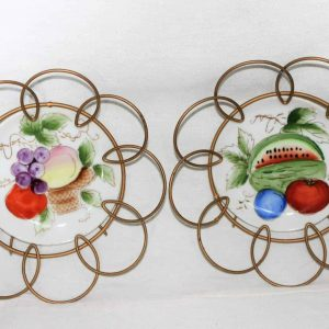 Decorative Plates Mid Century Modern, Hand Painted in Frame-Set of 2