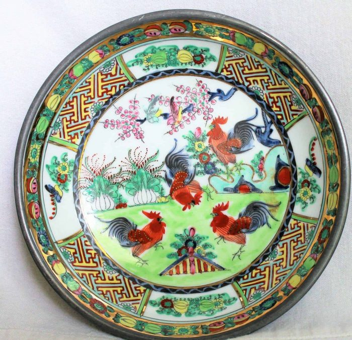 Bowl, Decorative, Hand Painted Roosters, Porcelain, Pewter Encased, Japanese