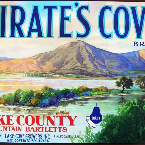Label Crate, Pirate's Cove Brand Mountain Bartlett Pears, Genuine- NOS 1950's