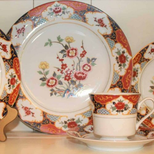 "Dinnerware, Complete Place Service for 4, ""Kyoto"" by Montgomery Ward, 5 Piece Place Setting, Japan"