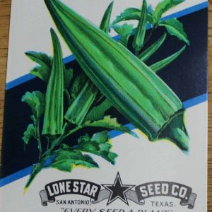 Seed Packets, Okra #183 by Lone Star Seed Co. 1940's NOS