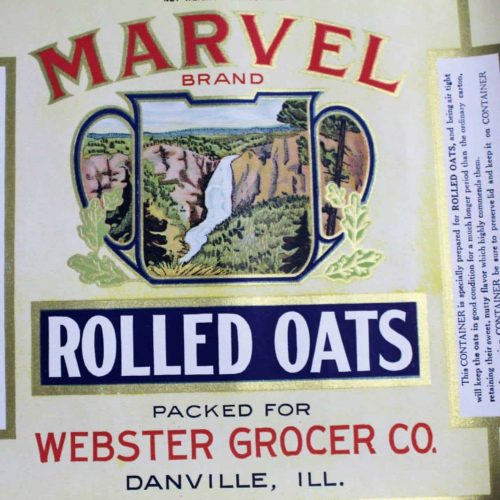 Label Canister, Marvel Brand Rolled Oats, Genuine Original, NOS