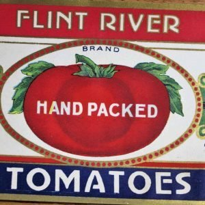 Label Can, Flint River Tomatoes, Antique Genuine - Rare - NOS