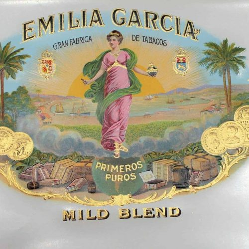 Label Cigar Box, Emilia Garcia, Genuine-Original 1930's, Unused NOS