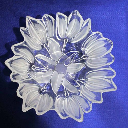 """Bowl, Decorative, Frosted Glass, """"Sylvia"""" Pattern, Walther Glas Large, 12"""""""