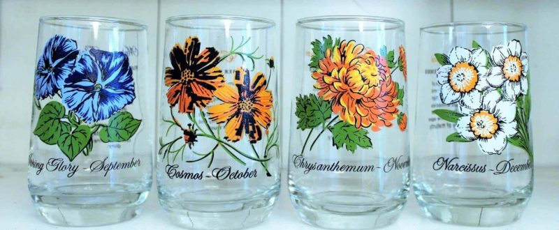 Glass, Tumbler, Flower of the Month, April / Daisy, Brockway, SOLD