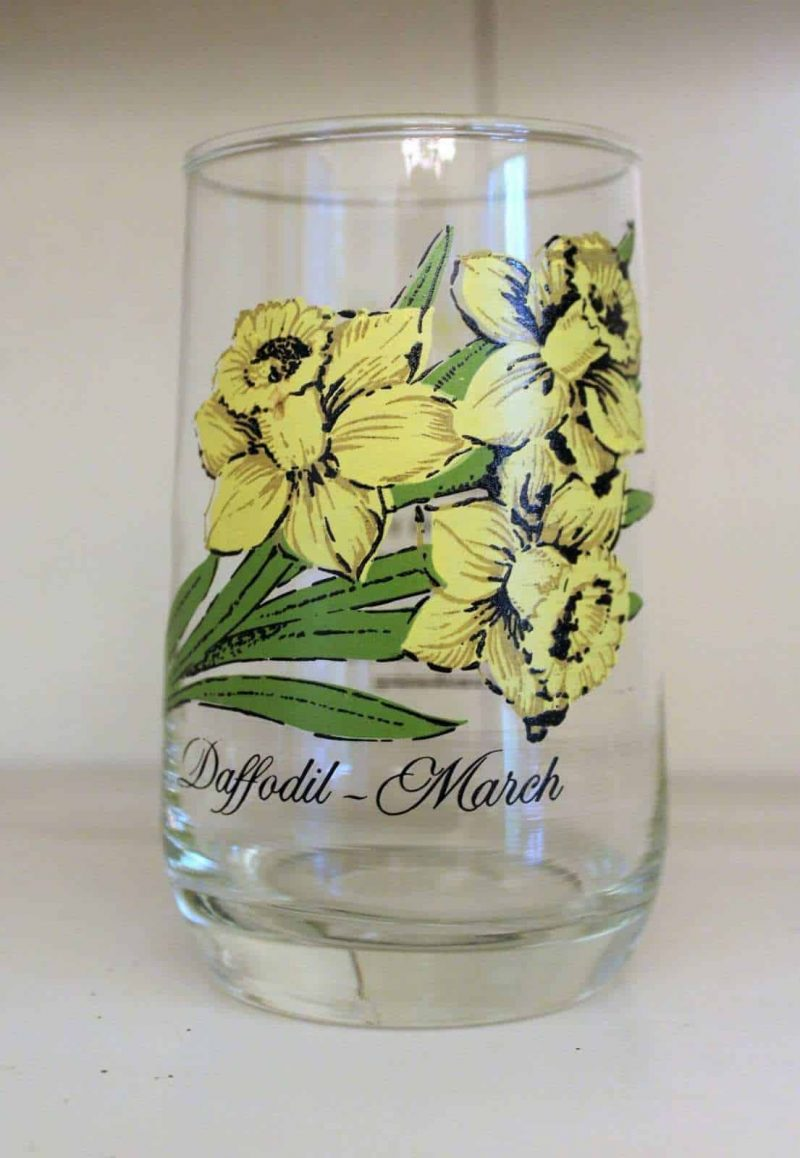 Glass, Flower of the Month, March / Daffodil, Brockway Tumbler