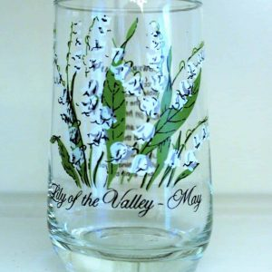 Glass, Tumbler, Flower of the Month, May/ Lily of the Valley, Brockway, SOLD