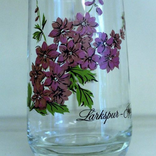 Glass, Flower of the Month, July / Larkspur, Brockway Tumbler