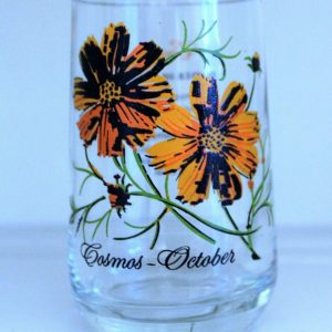 Glass, Flower of the Month, October / Cosmos, Brockway Tumbler / Glass