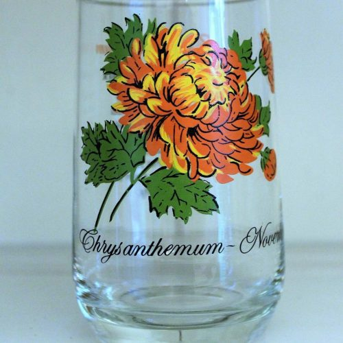 Glass, Flower of the Month, November / Chrysanthemum, Brockway Tumbler