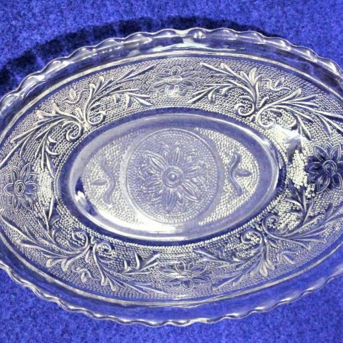 "Serving Bowl, Depression Glass, ""Sandwich Clear"" by Anchor Hocking"