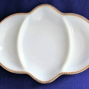 Dish, Divided 3 Section, Fire King, White with Gold Rim, Anchor Hocking