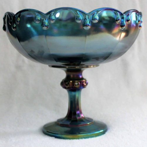 "Compote, Blue Carnival Glass by Indiana Glass, ""Garland"" or ""TearDrop"", SOLD"