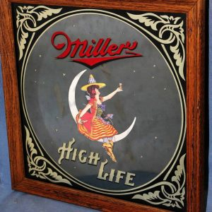 """Sign, Mirror, Miller High Life """"Girl in the Moon"""" Framed Mirror, SOLD"""