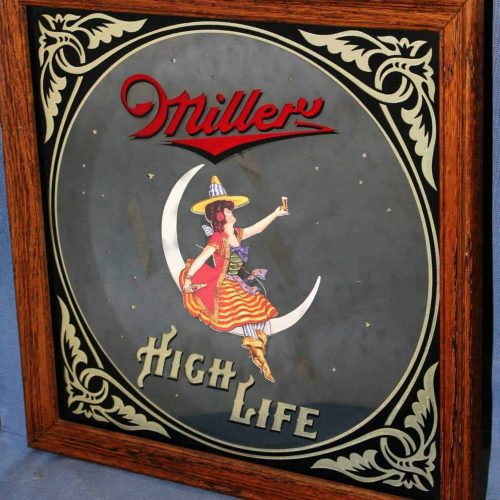 "Sign, Mirror, Miller High Life ""Girl in the Moon"" Framed Mirror, SOLD"