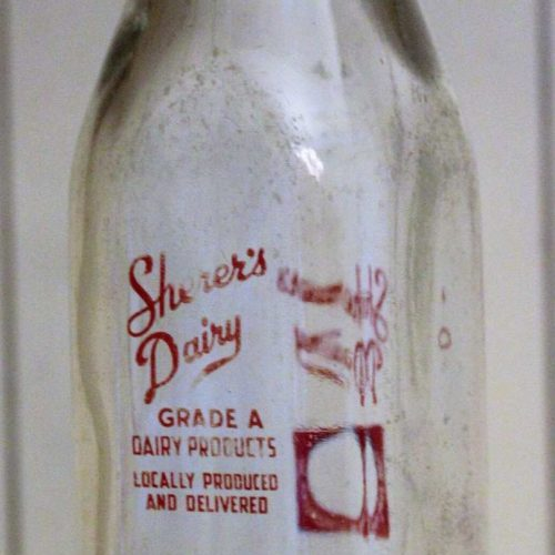 Milk Bottle, Sherer's Dairy, Red Pyro, Half Pint, Ohio RARE, SOLD