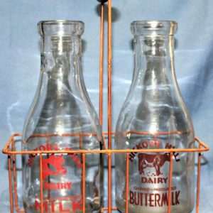 Milk Bottles with Carrier, Glass, Farmhouse Vintage-Look, Set of 2