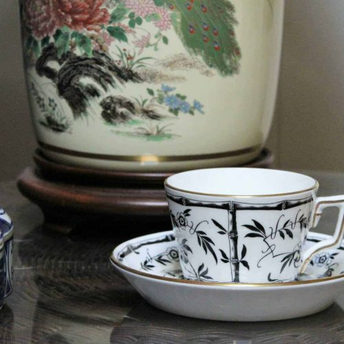 "Teacup and Saucer, ""Bamboo"" by Hammersley, RARE Black and White"