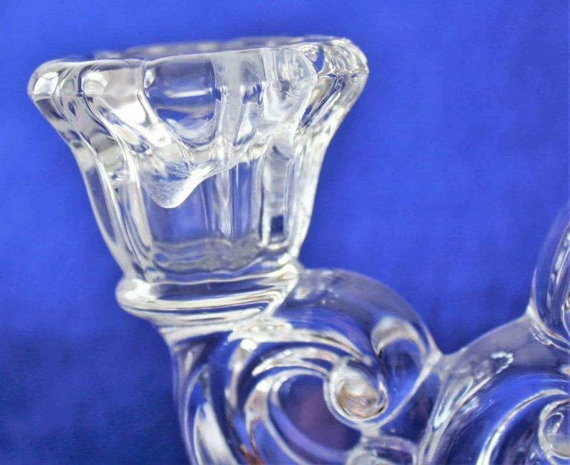 """Candle Holder, Two-Light Etched Glass, """"Diane"""" by Cambridge"""