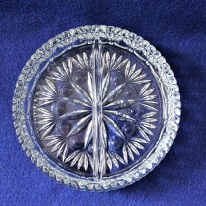 """Dish, Divided 2 Section, Relish, Crystal, """"Highlights"""" by Princess House"""