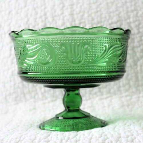 Candy Dish, Compote, Footed, Green Glass, E O Brody