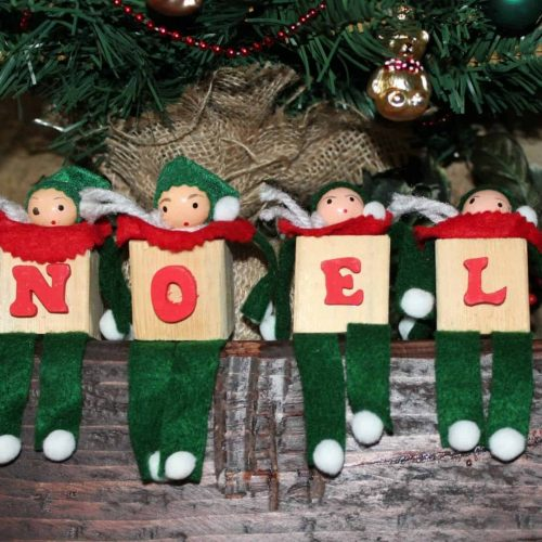 Wood Block Felt Christmas Elves / Shelf Sitters, Set of 4