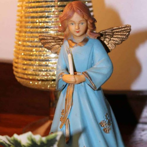 Angel Christmas Holiday Figurine / Ornament, Radiant Candlelight