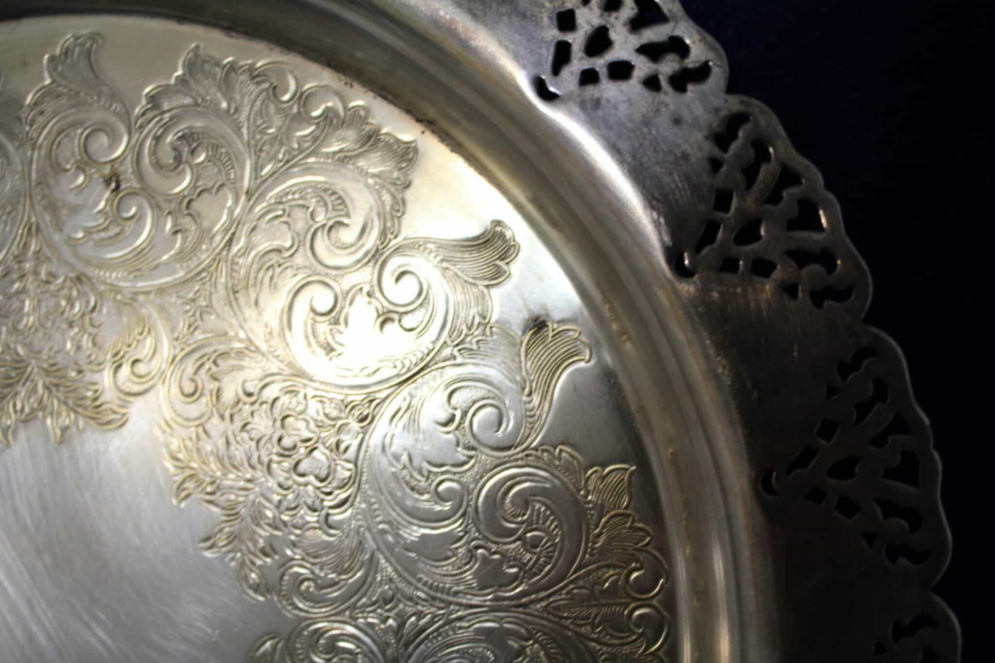 Tray Silver Plate, Scalloped and Pierced by Home Decorators