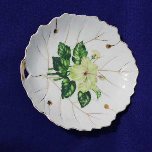 "Decorative Plate, Leaf Shaped ""White Hibiscus"" by NASCO, Japan"