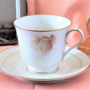 """Teacup and Saucer, """"Devotion 7271"""" by Noritake, Japan, Set of 6 (12 Pcs)"""