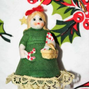 Ornament Christmas L'il Chimers Heirloom Bell, Girl Green Dress