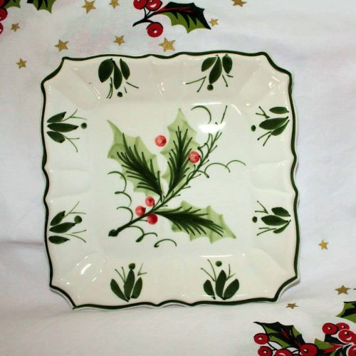 "Decorative Plate, ""Holly"" by Zanolli, Hand Painted, Italy"
