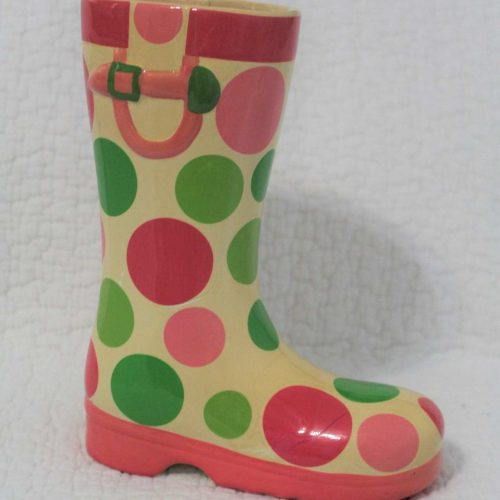 Vase / Planter, Polka Dots Rain Boot, Burton & Burton, Ceramic, SOLD