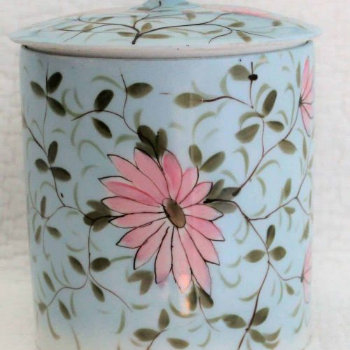 Tobacco / Cookie Jar/ Storage Canister, Hand Painted Ceramic