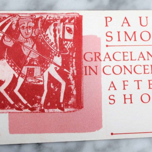 "Backstage Pass Paul Simon 1986 ""Graceland Concert"" After Show, Cloth"