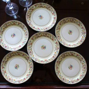 """Plates, Bread and Butter/Dessert, Taylor, Smith & Taylor """"Scroll Border 1797"""" Set of 6"""