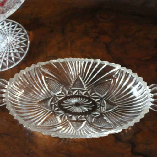 """Relish Dish, Oval Serving Fan and Triangle Design, """"Pattern 573/576"""" by Hazel Atlas"""