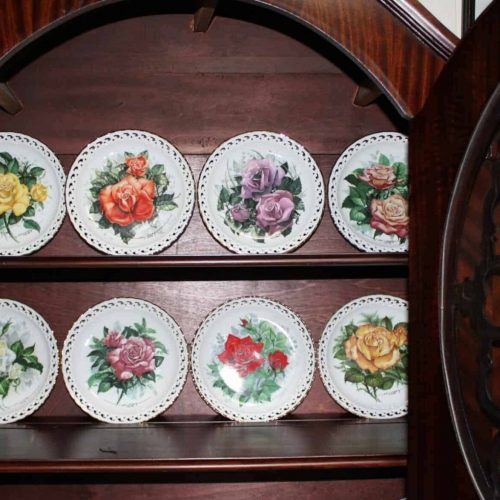 "Decorative Plates, ""American Rose Garden"" by Hamilton, Set of 8"