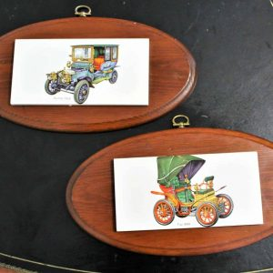 Mounted Tiles, Antique Cars, Fiat 1899 and Daimler 1905, Set of 2