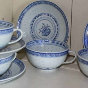 """Teacup and Saucer, """"Rice Flower"""" by Tienshan, Set of 4"""