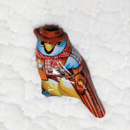 Pin Tin Lithograph, Cowboy Bird, Unused Original - Japan