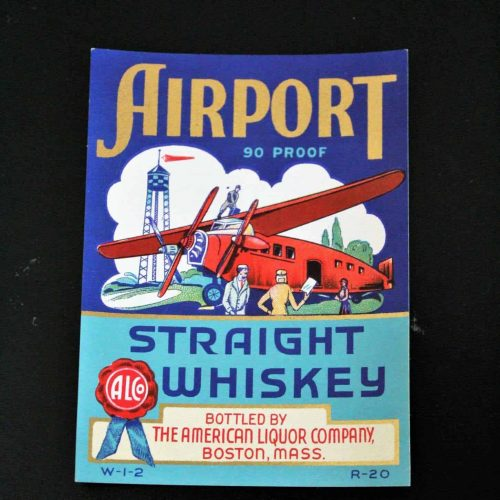 Label Liquor, Airport Whiskey, 1930's Genuine-Original-NOS