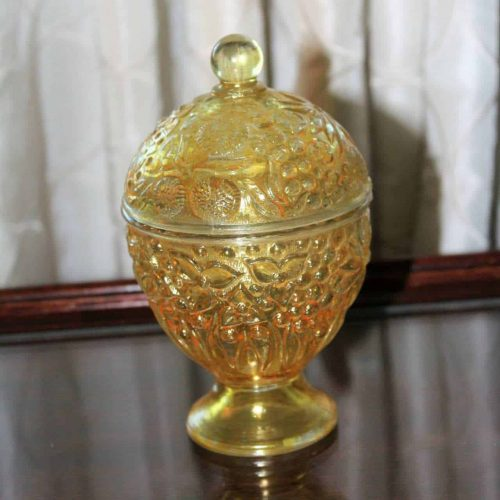 Candy Dish / Jar Yellow Glass, Avon, Egg Shaped Footed with Lid