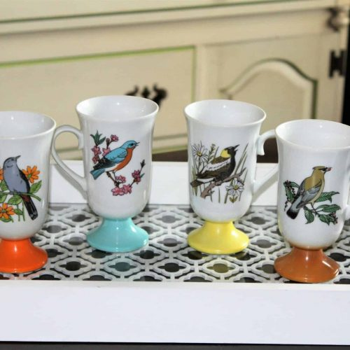 Mugs Irish Coffee, Fred Roberts Co. Footed Mugs, Song Birds and Floral - Set of 4