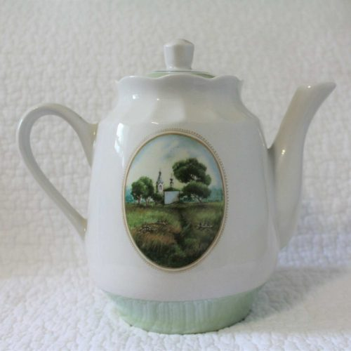Coffee Pot, Porcelain Transferware & Lusterware, Country Church Scene