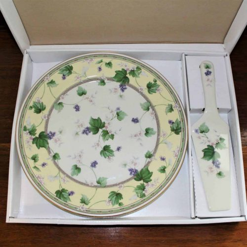 "Cake Plate and Server Boxed Set by Sadek, Porcelain, ""SAD76"""