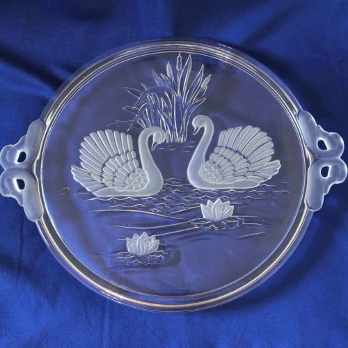 "Cake Plate/Serving Tray, ""Swan"" by MIKASA, Etched Glass with handles, SOLD"