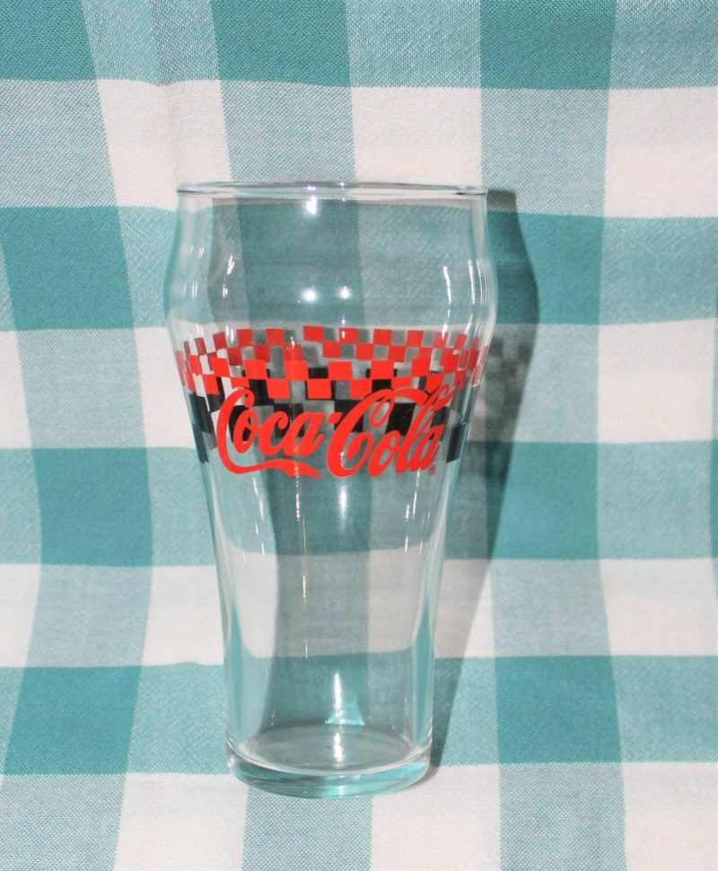Glasses, Coca Cola by Gibson, Black/Red Racing Checkered, Set of 6, SOLD