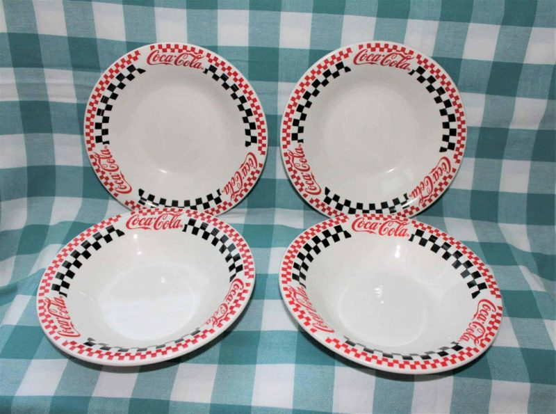 Soup Bowls, Coca Cola by Gibson Designs, Black/Red Racing Checkered, Set of Four, SOLD